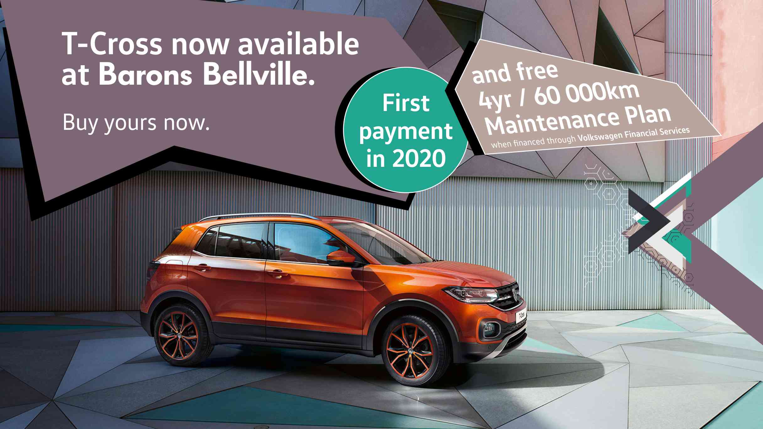 Buy the T-Cross today and pay in 2020 at Barons Bellville